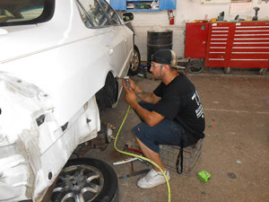 Sergio working in Body Shop